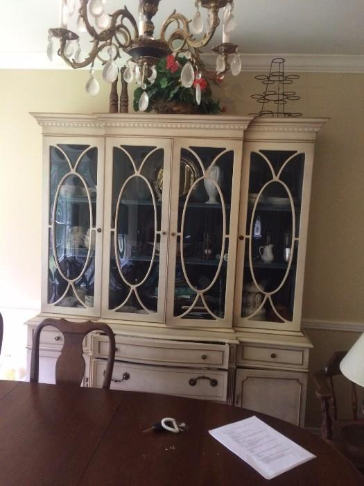 FABULOUS BLUE VELVET LINED BREAKFRONT  WITH CONVEX GLASS
