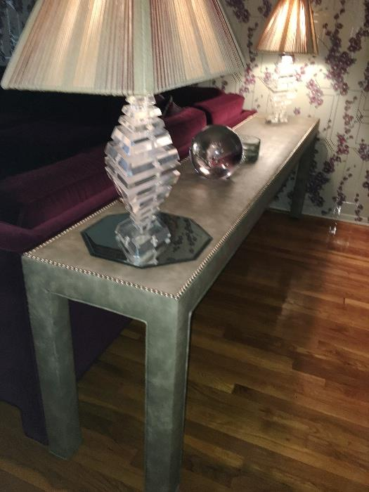 Custom gray leather long console table w/studded detail....LAMPS NOT FOR SALE