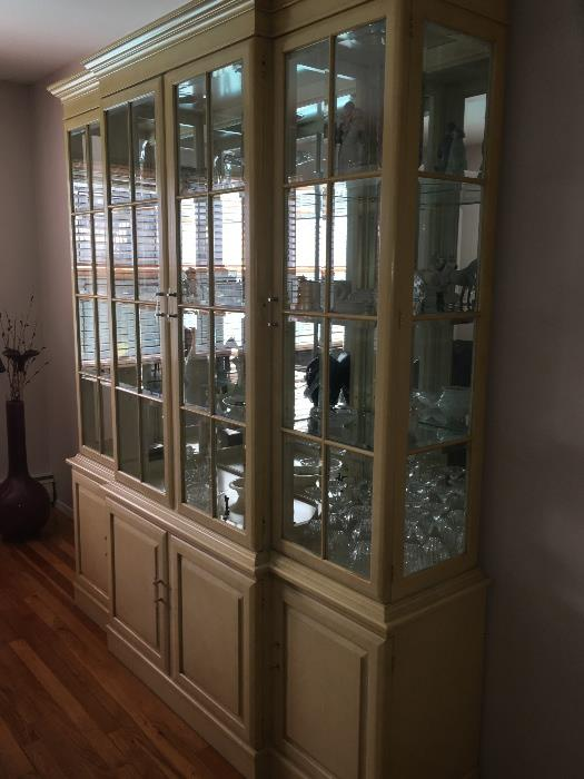 Bleached wood china cabinet