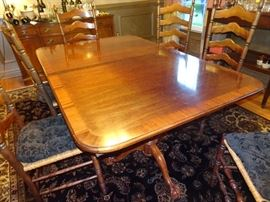 Beautiful Double Pedestal Dining Table with 6 Ladderback Rush Seat Chairs
