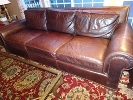 Century Leather Nail Head Sofa & Matching Recliner