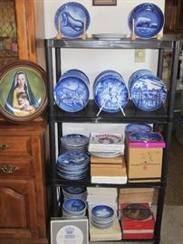 Over 200 collector plates by B&G, Furstenberg, Haviland and more. Some date as far back as 1919.