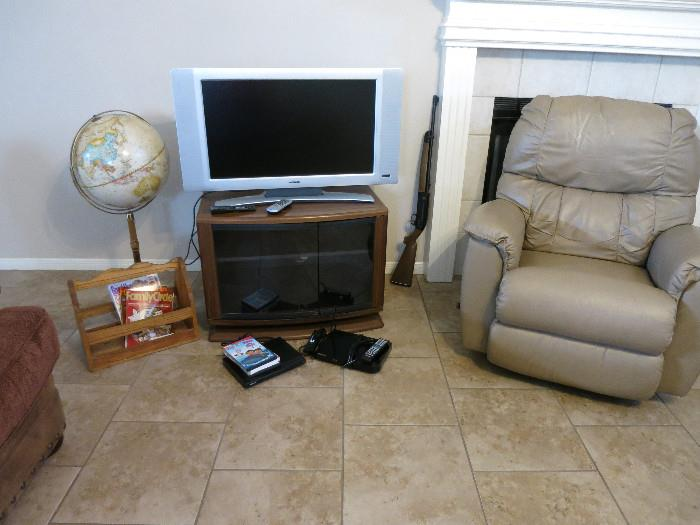 "Kamin Recliner, Magnavox TV, Replogle 16"" Word Classic Globe, Samsung and Sony DVD Player, TV Stand. All In Good Condition!"