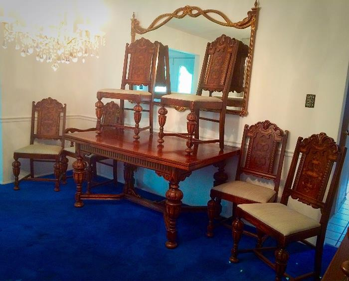 Gorgeous 1930s Solid Wood Jacobean Style Dining Room Set with Pull-Out (Extension) Leaves, Pads, & Six Chairs