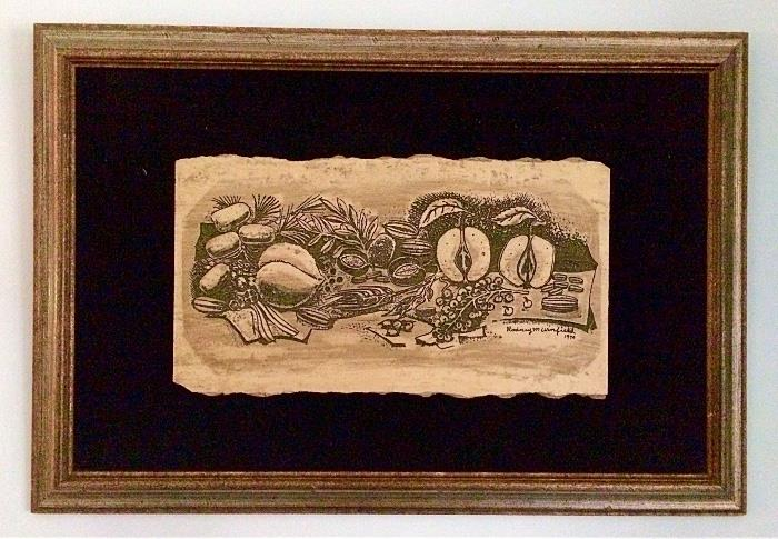 1970 Vintage Rodney Winfield Heavy Etched Stone Travertine Plaque (Mounted & Framed)