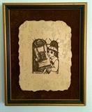 Vintage Rodney Winfield Heavy Etched Stone Travertine Plaque (Mounted & Framed)