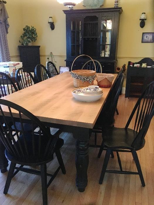Custom Canadian built wood slab table & chairs with china cabinet