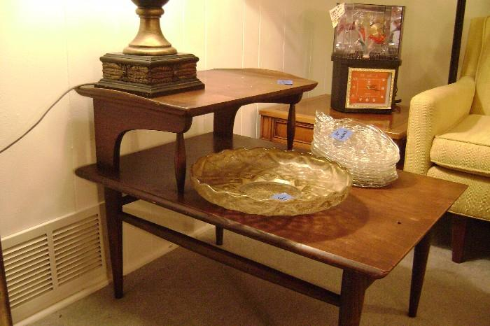 MID-CENTURY TEAL COFFEE 2-TIER END TABLE