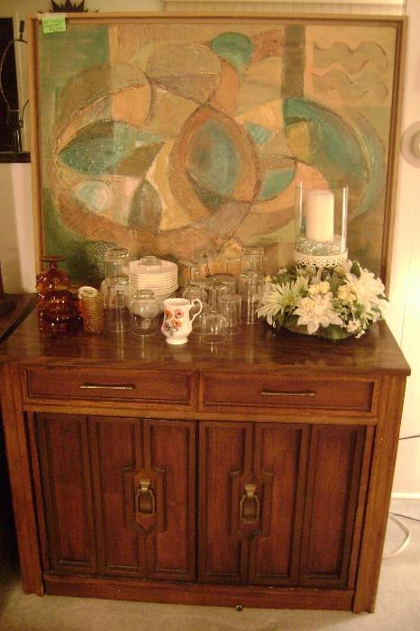 MODERN ACRYLIC  PAINTING-----A 1970'S PULL-OUT DINING ROOM TABLE WITH LOTS OF FOLD-UP LEAVES---GOOD SHAPE