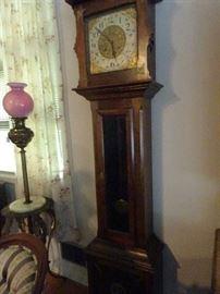"""Walnut Tall Case Grand Father Clock C 1800's -87""""Tall"""