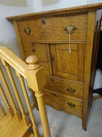 """Great Old Oak Dresser with Top Hat Cabinet - 38""""W X 18""""D X 50""""H"""