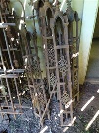 """Victorian Cast Iron Fencing - 6 End Posts 45""""H"""