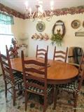 Claw foot Oak table and six ladder back chairs---SOLD