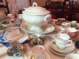 Lots of tea cups, ready to serve with