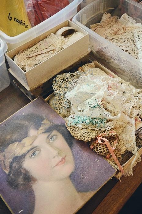 Crocheted doilies, handkerchiefs, lace