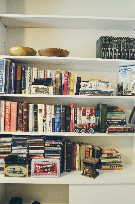 Avon locomotive, hardbacks, paperbacks, CDs, hand carved wooden bowls