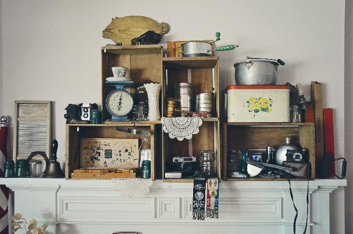 Vintage Cameras, Washboard, Food Scale, Bread Box Tin