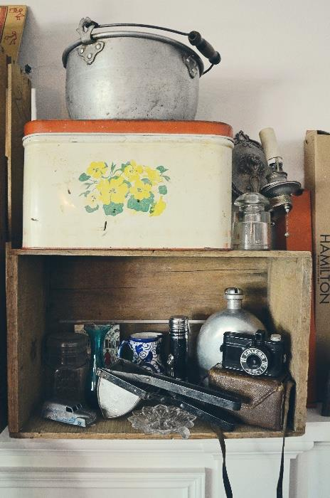 Wooden Fruit Crate, Vintage Bread Box Tin