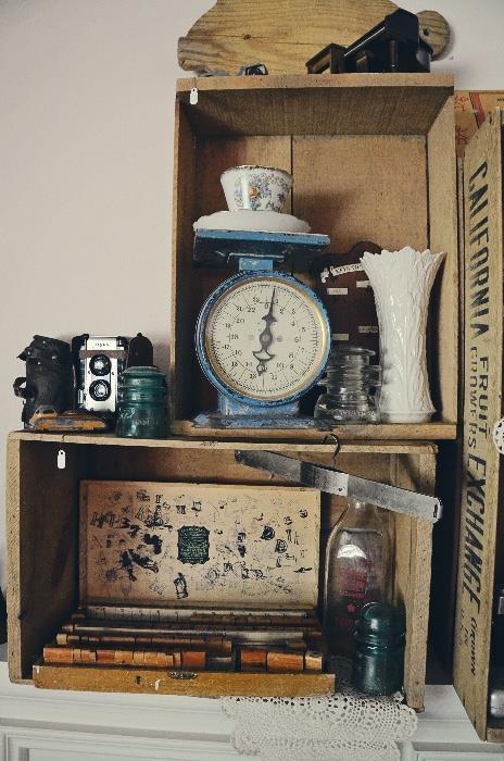Vintage Print Stamp Set, Food Scale, Vintage Camera, Glass Insulator