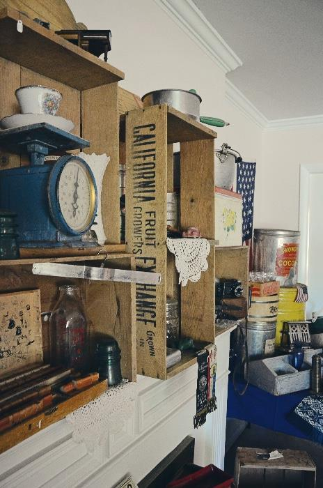 Poudre Valley milk bottle, glass insulator, fruit crates, lard & fruit tins
