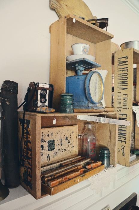 Vintage Argus camera, glass insulators, block stamp print set