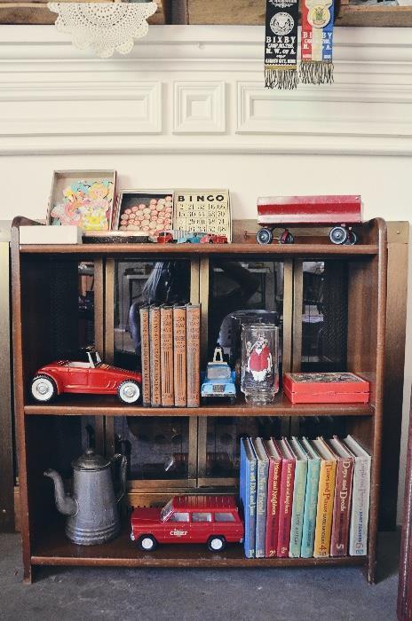 Dick & Jane Basic Readers Book Set of 9 (1940s), Bingo, Enamel Teapot, Metal Trucks