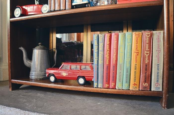 Dick & Jane Basic Readers Book Set of 9 (1940s), Enamel Teapot, Metal Tonka Jeep