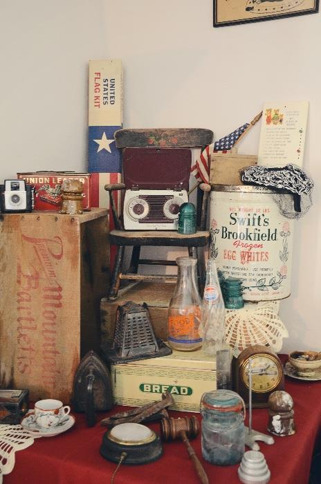 Antique stovetop toaster, Swift's Frozen Egg Whites Tin, vintage bread box, antique children's chair, ceramic insulators, vintage milk bottle