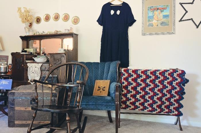 Windsor style rocking chair, Quilt stand, Armchair
