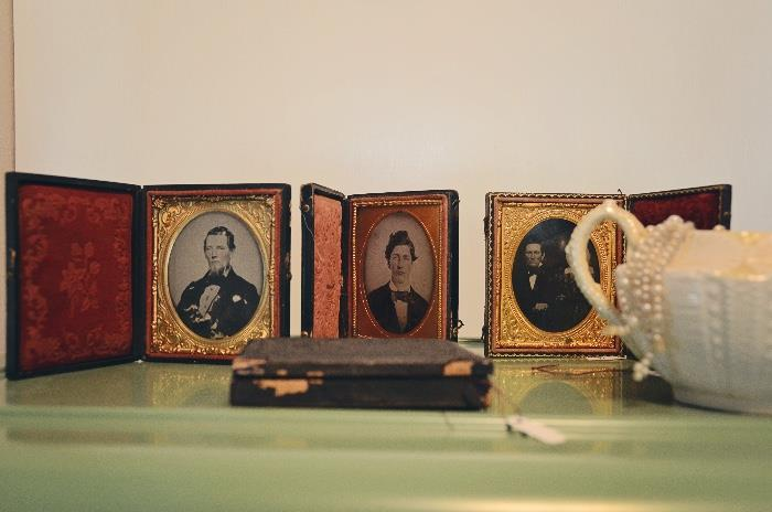 Antique tin types in frames