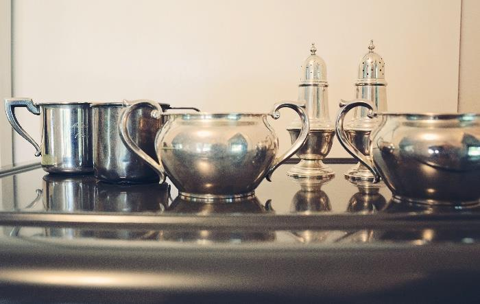 Sterling silver cream and sugar, salt and pepper shaker