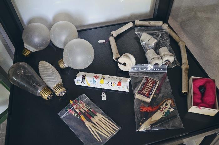 Antique light bulbs, ceramic insulators
