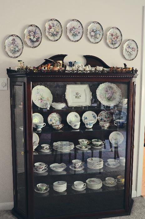 Mahogany side-entry china cabinet, tea cup and saucer sets, Lena Liu's Floral Cameo Plates