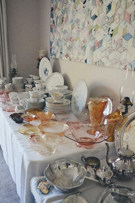 """Mikasa """"Rosina"""" China setting for 12, pink depression glass, carnival glass, silver plate serving ware"""