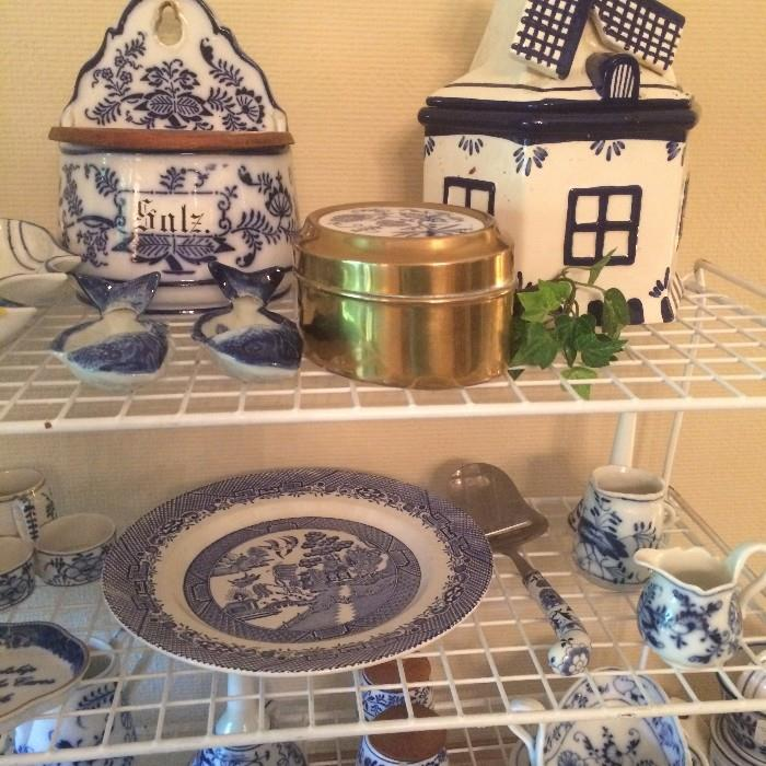 Delft, Blue Willow, Meissen, and other blue & white items