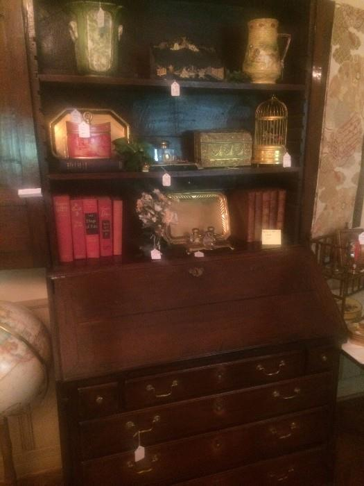 Exceptional antique secretary (musical bird cage--middle shelf-- not available)