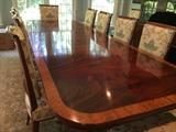 Classic Duncan Phyfe styled traditional flame mahogany dining room table, beaded edge
