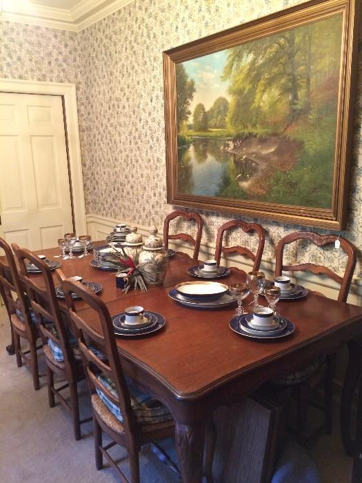 Dining table & 8 chairs (2 host chairs - next picture); framed oil painting