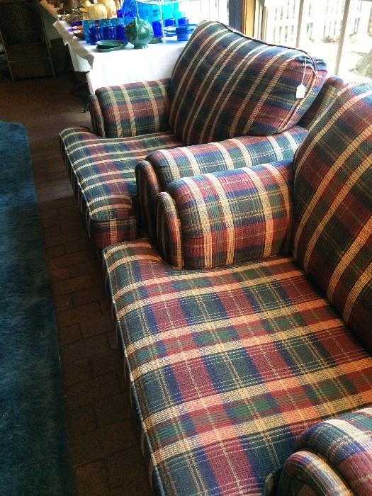 Two over-stuffed club chairs (with matching ottoman)