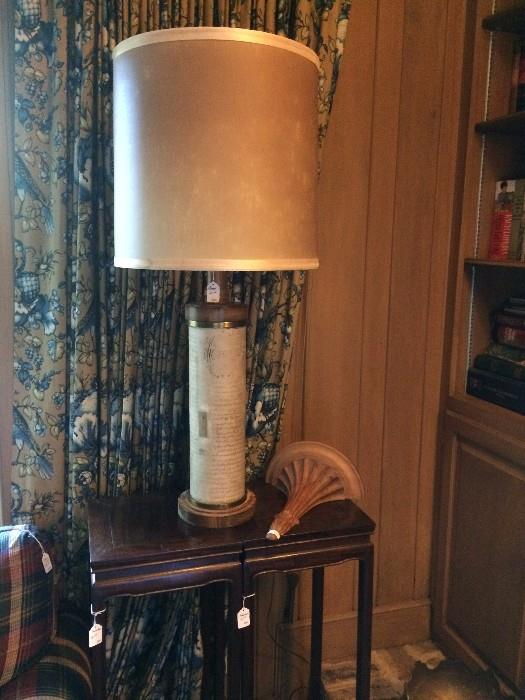 Two small side tables/plant stands; vintage lamp