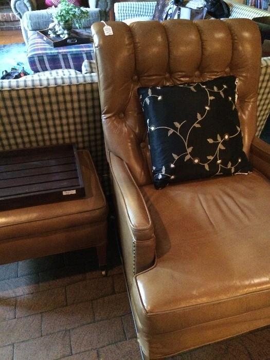 Tan leather chair & ottoman