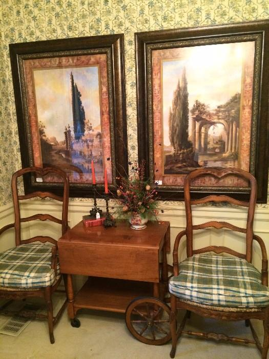 Host chairs to dining table; maple tea cart; large framed art