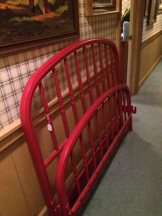 Full size bed red head-board & foot-board (came from a Greenbriar Lake estate)
