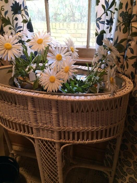 Oval white wicker planter