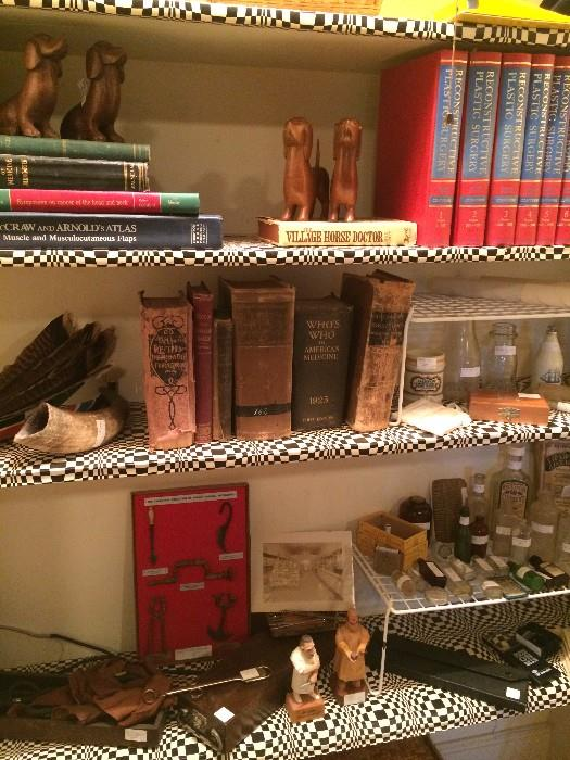 Medical books, statues, and bottles