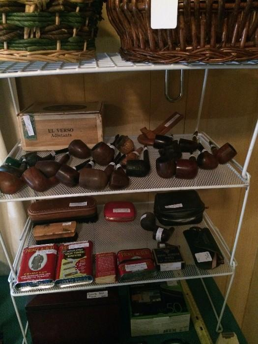 Pipe collection and Prince Albert cans