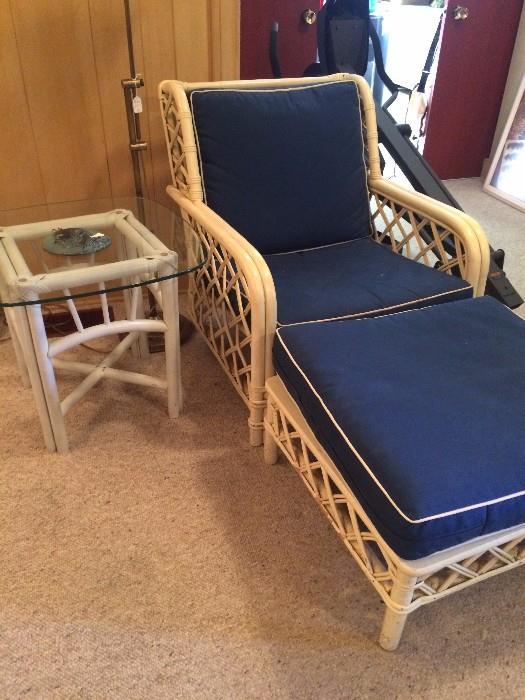 White rattan chair & ottoman