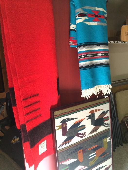 Hudson's Bay Point blanket - 100% wool; Mexican blanket; framed S. American blanket