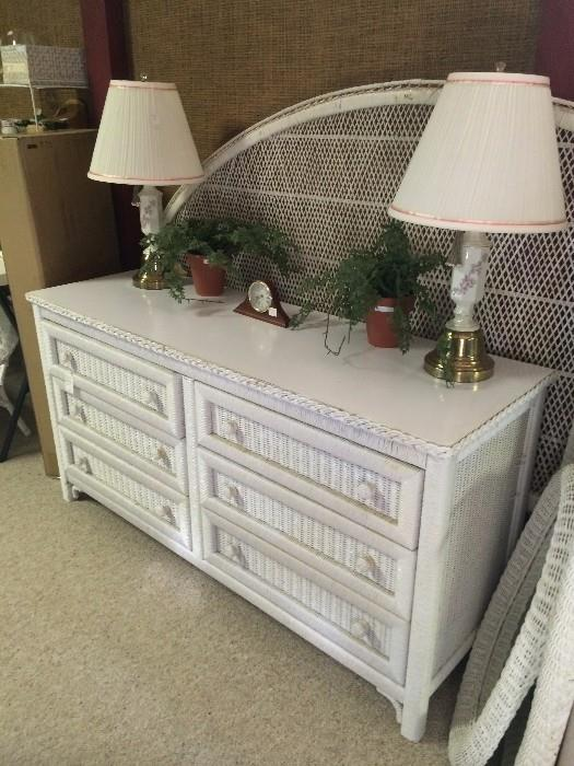 White wicker king headboard and 6-drawer dresser from a Greenbriar Lake estate; matching vintage lamps