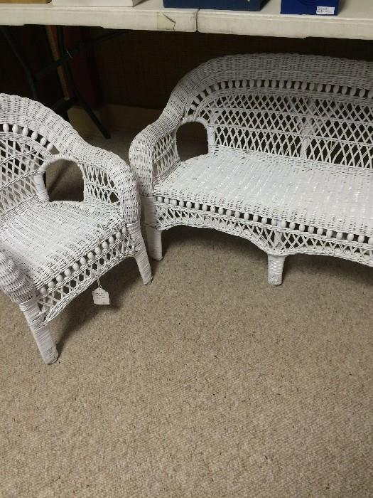 Child's white wicker chair and settee